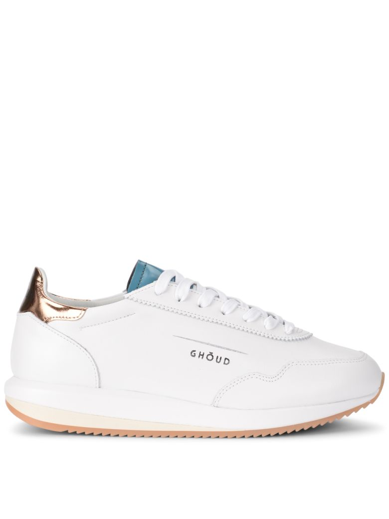 GHOUD WHITE, GREEN AND GOLD LEATHER SNEAKER