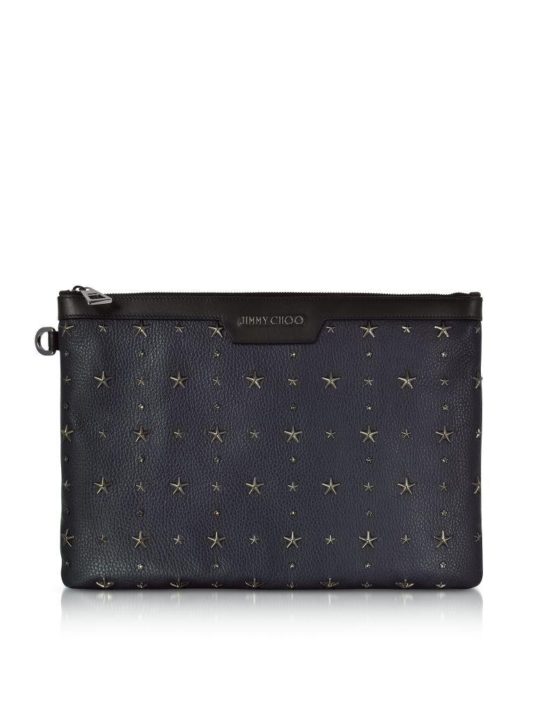Jimmy choo Handbags, Derek Navy and Slate Grainy Leather Clutch w/Crystals Star