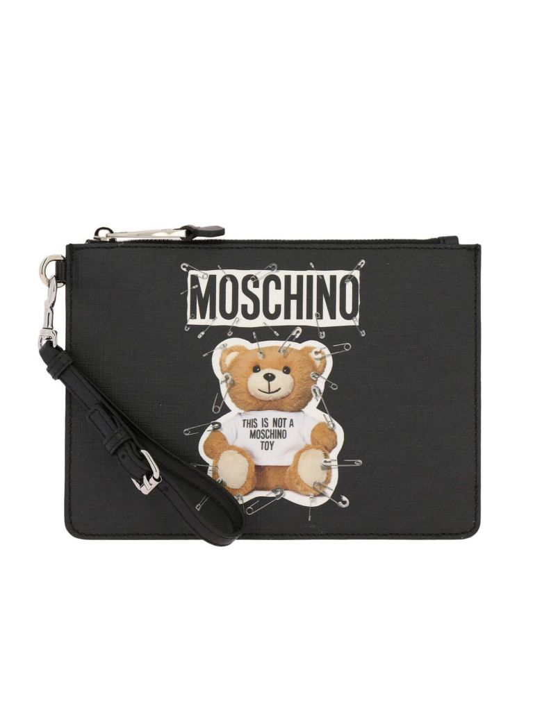Safety Pin Teddy Aux-Leather Clutch Bag in Black
