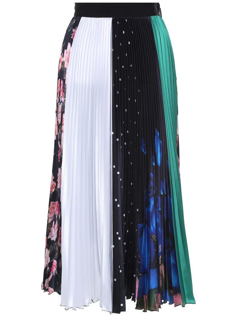 Pleated Printed Satin Midi Skirt, Nero