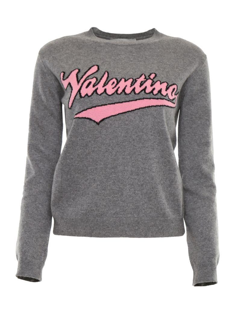 Valentino Pull With Intarsia Logo - GRIGIO MELANGE|Grigio