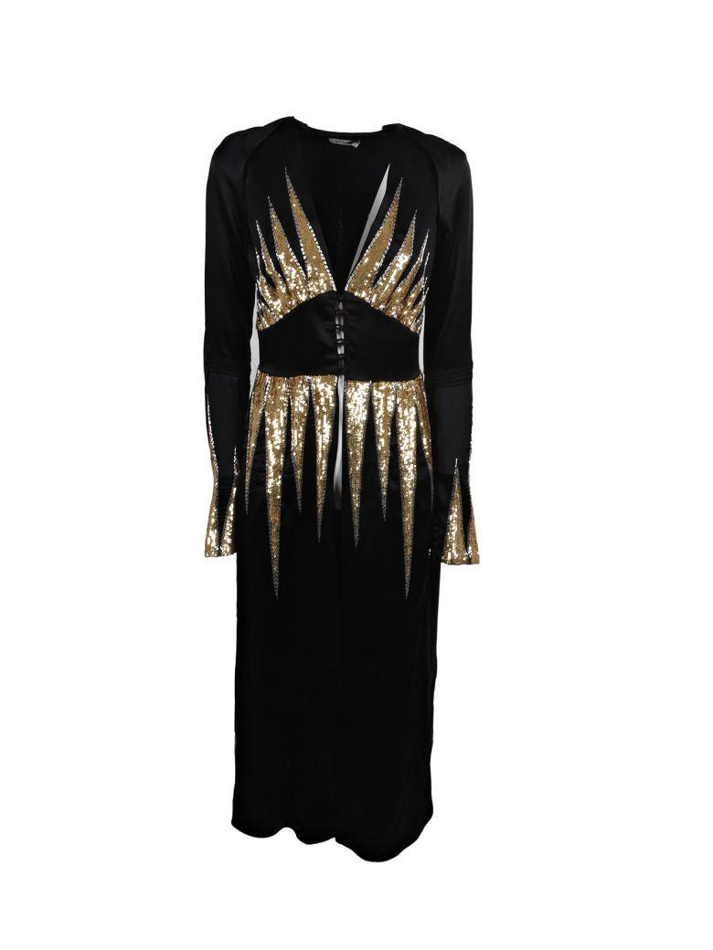 Suzanne Embellished Satin Dress, Black