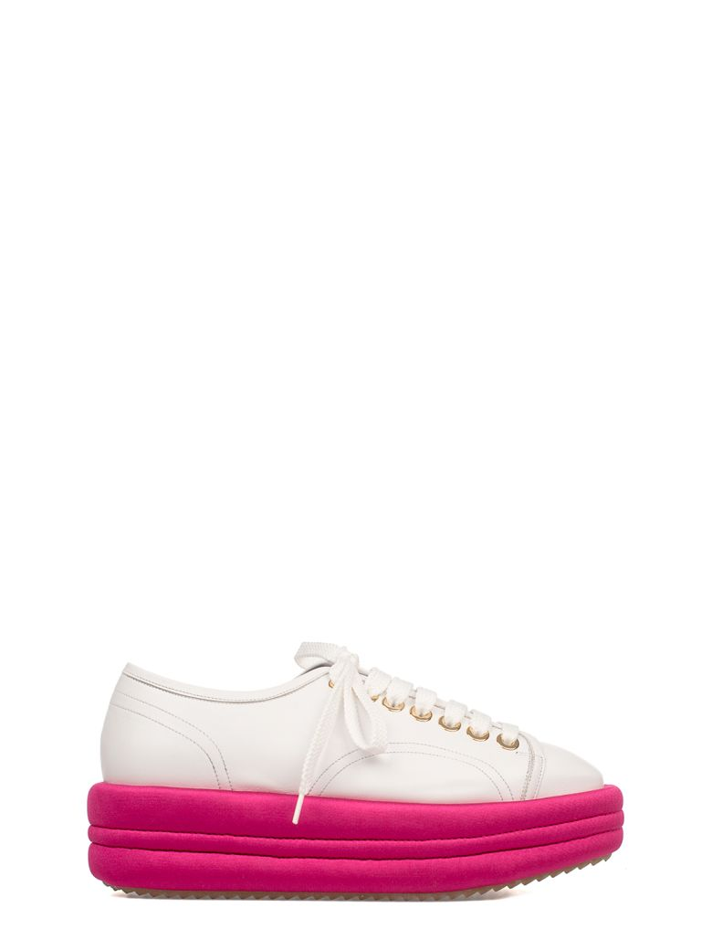 White/Fuchsia Leather Wedge Sneakers, White - Fuxia