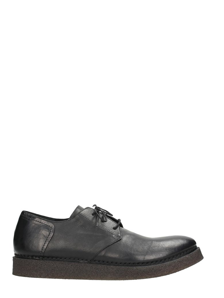 ROBERTO DEL CARLO BLACK LEATHER LACE UP