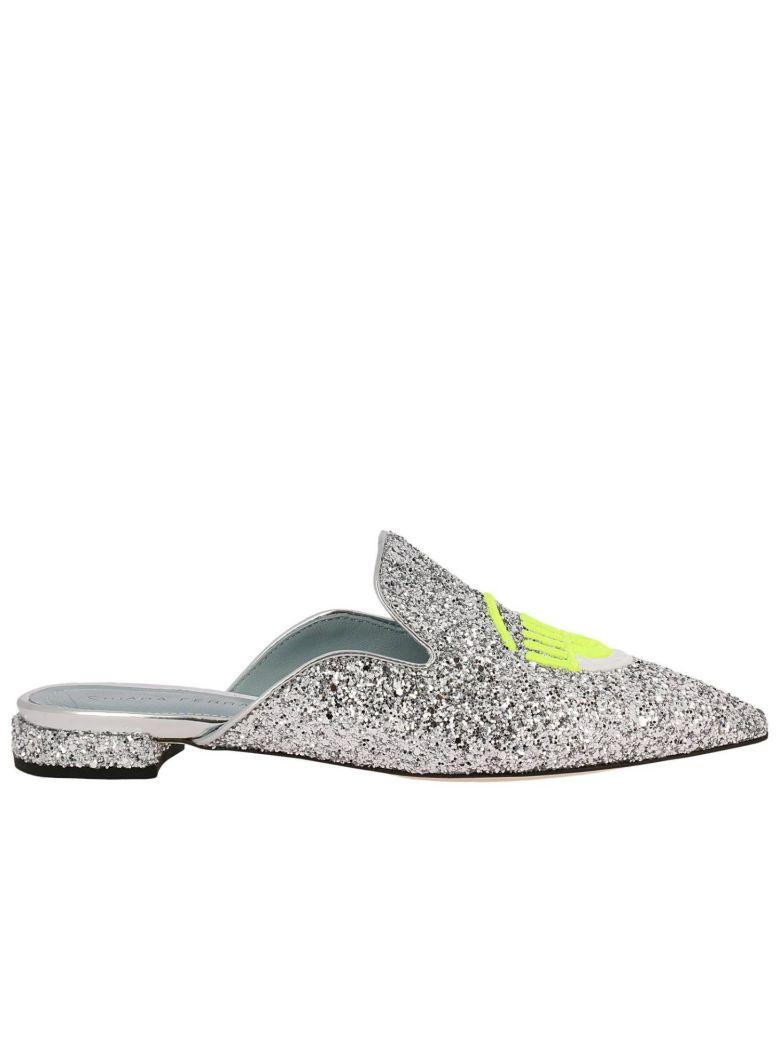 Chiara Ferragni Shoes BALLET FLATS CHIARA FERRAGNI SLIPPER LOGOMANIA GLITTER POINTY TOE WITH MAXI EMBROIDERY FLUO EYES FLE