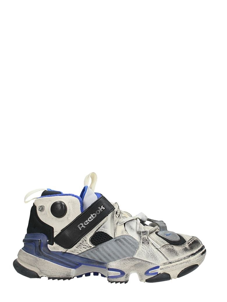 Vetements Reebok Genetically Modified Pump Distressed Leather And Mesh  Sneakers In Multi f9cecebe1