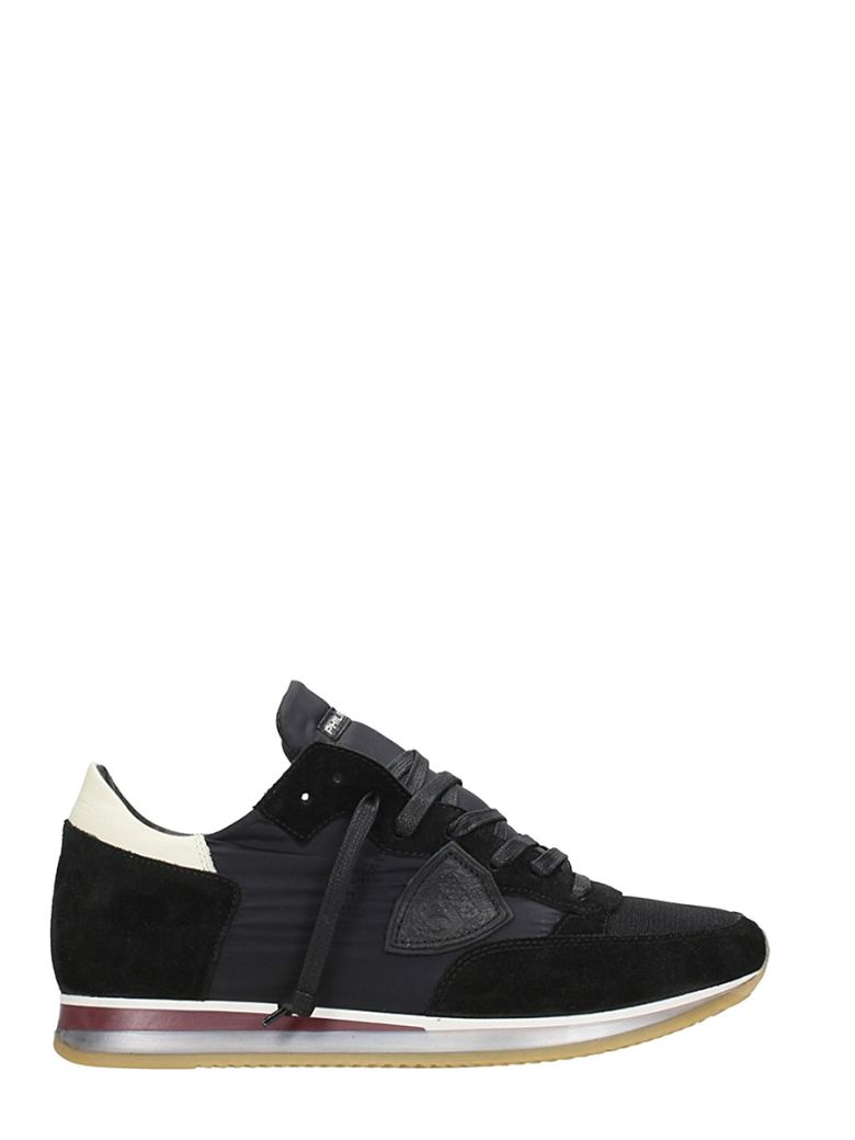 Philippe Model Sneakers MONDIAL BLACK SUEDE AND FABRIC SNEAKERS