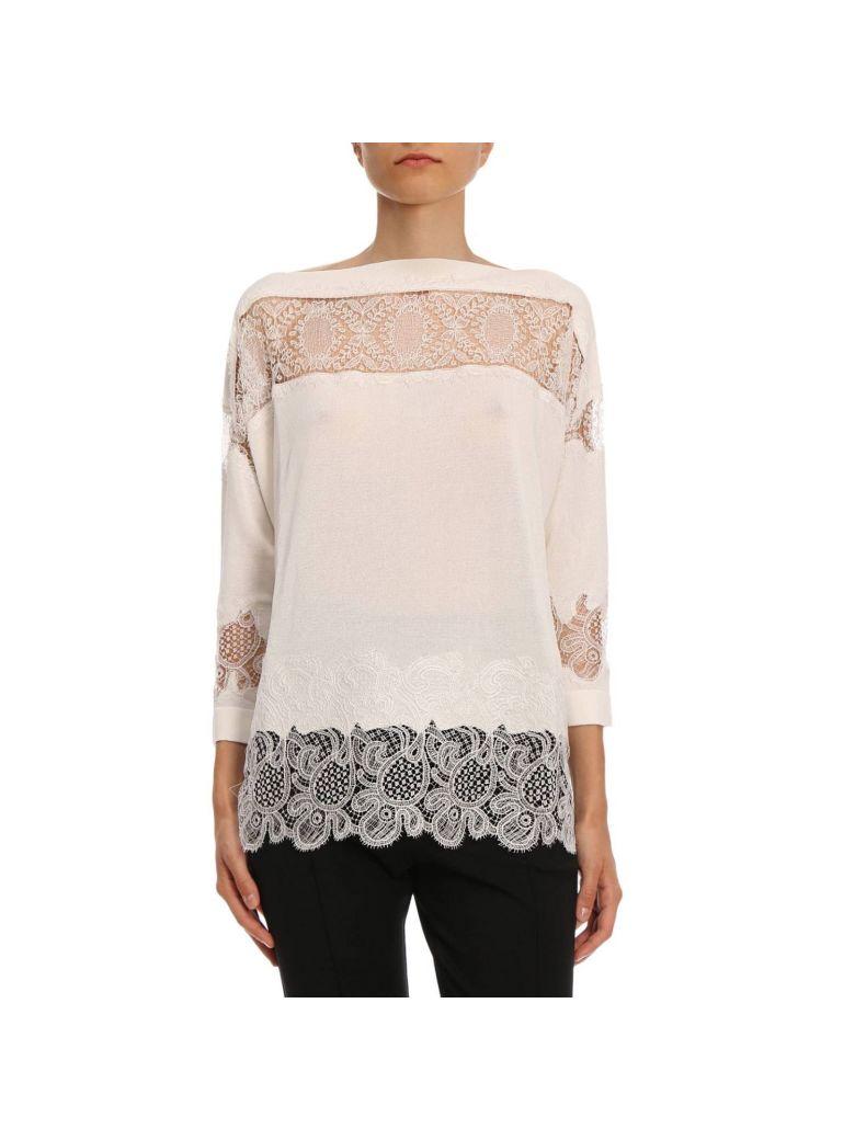 ERMANNO SCERVINO Ermanno Scervino Lace Knit Sweater - White