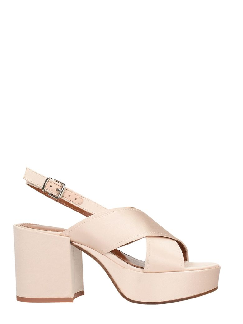 LOLA CRUZ BAMBU PINK SATIN SANDALS