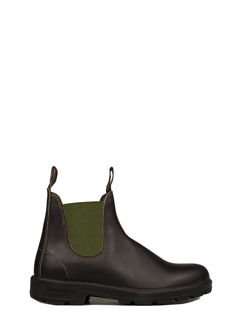 BLUNDSTONE BROWN-GREEN LEATHER LOW BOOT