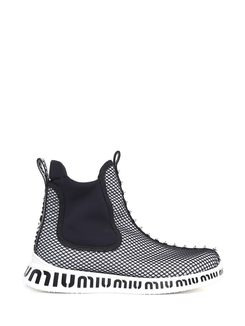 Crystal-Embellished Mesh And Neoprene High-Top Sneakers, Bianco Nero