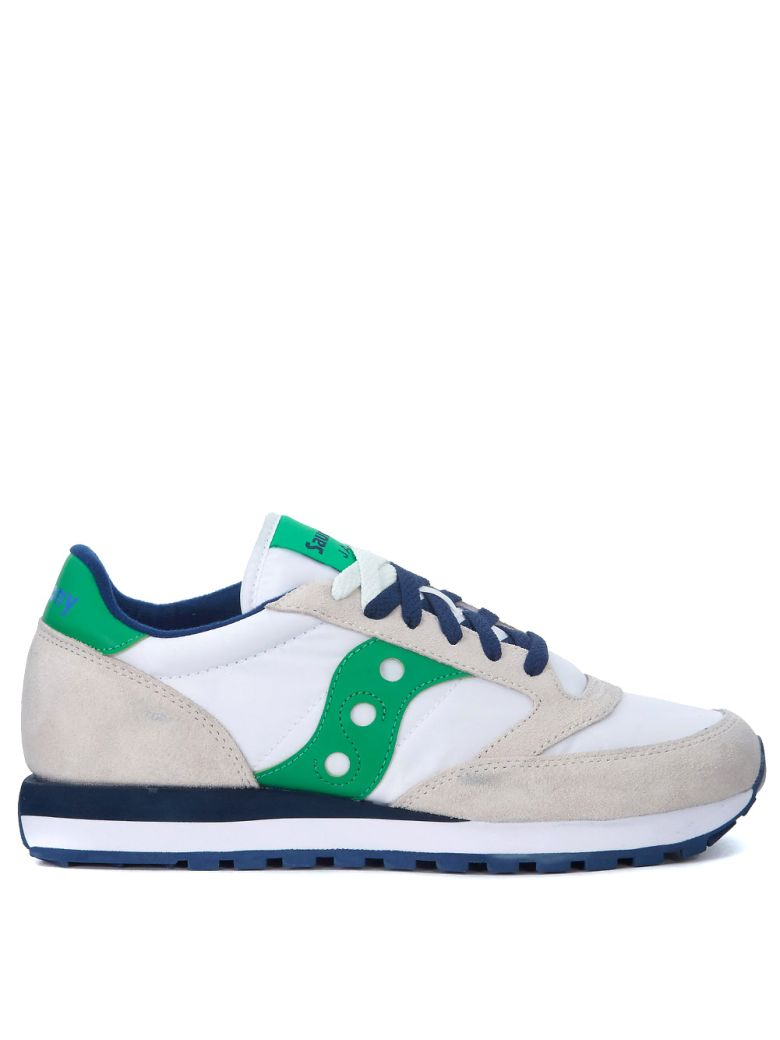 JAZZ BEIGE, WHITE AND GREEN LEATHER AND NYLON SNEAKERS