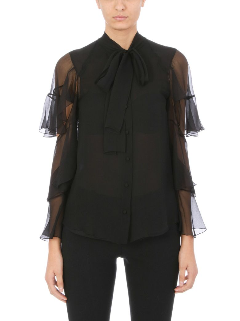 Chloé Pussy-bow Ruffled Black Silk-mousseline Blouse - black
