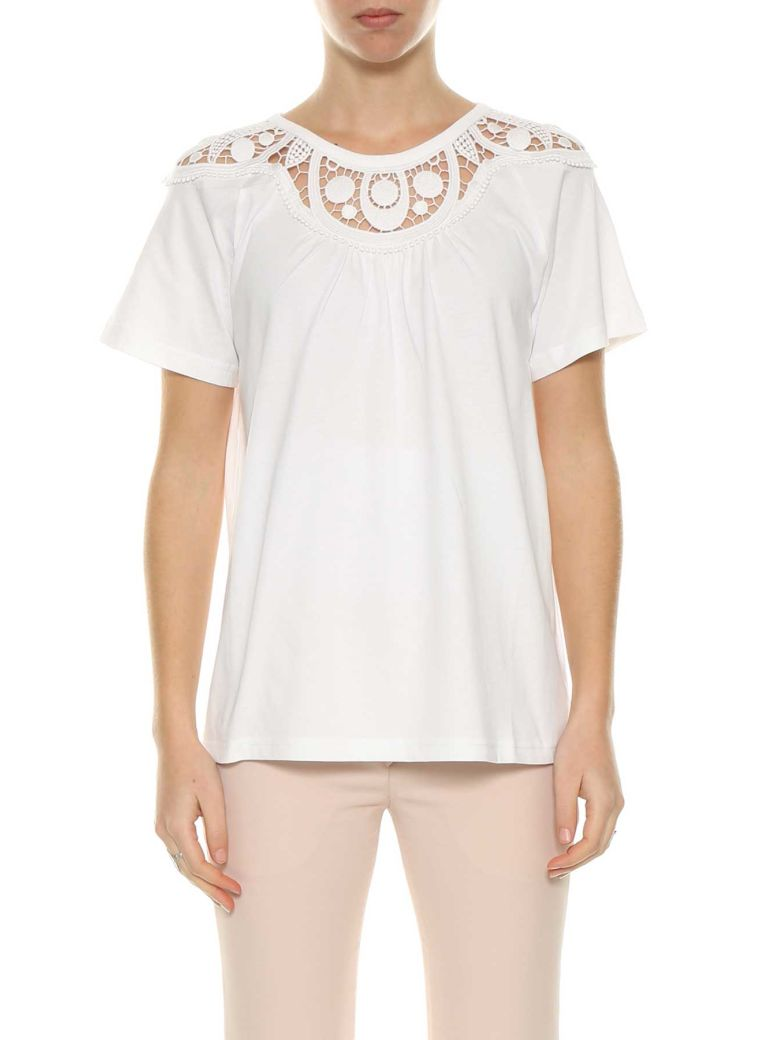 Chloé Embroidered T-shirt - Bianco