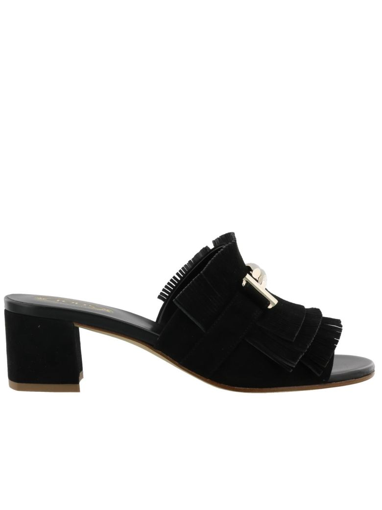 GOMMA FRINGED SUEDE MULES