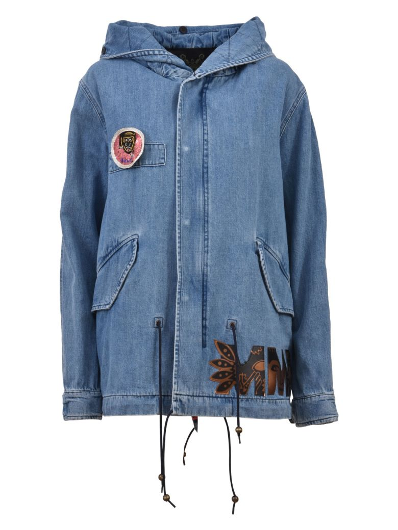 DENIM PARKA WITH PATCHES