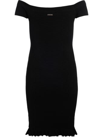 Michael Kors Black Stretch Fabric Dress With Boat Neckline