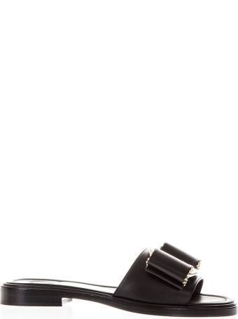 Salvatore Ferragamo Vara Black Bow Sandals In Leather