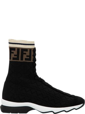 Fendi Black Fabric Sneaker Boots