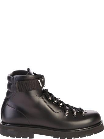 Valentino Garavani Black Branded Ankle Boots