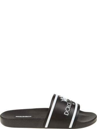 Dolce & Gabbana Rubber And Calf Black Slippers With Logo