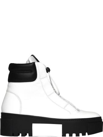 Vic Matié White And Black Hiking-style Heeled Ankle Boots