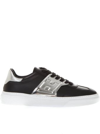 Hogan Black Leather Sneakers With Embossed Logo