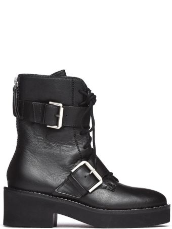 Vic Matié Black Military Boots With Buckles And Rubber Sole