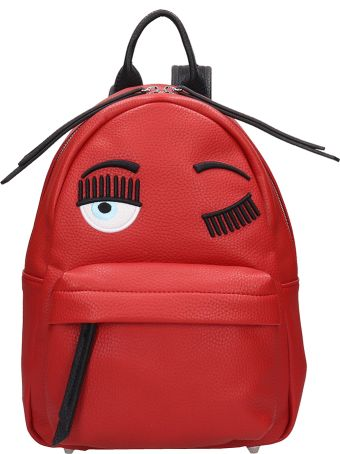 Chiara Ferragni Red Leather Small Flirting Backpack