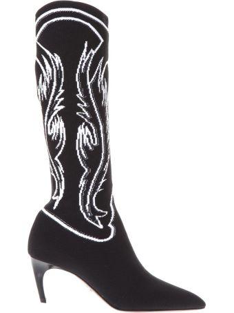 Dior Black Texan Jacquard Jersey Boots
