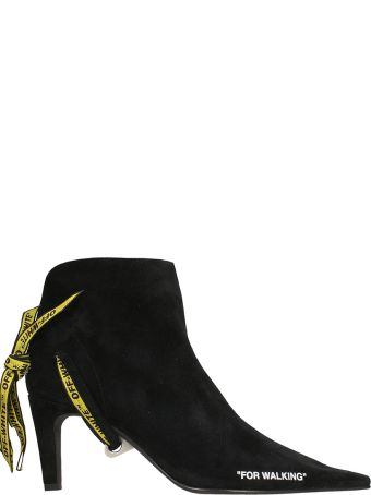 Off-White Black Suede For Walking Ankle Boots
