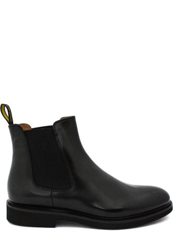 Doucal's Black Brushed Leather Ankle Boot.