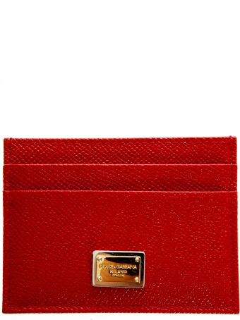 Dolce & Gabbana Red Dauphine Leather Credit Card Holder