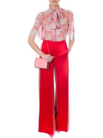 Valentino Rododentro Printed Rose Candy Silk Shirt