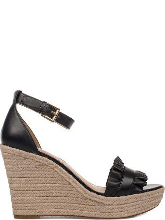 Michael Kors Black Bella Leather Wedge Sandal