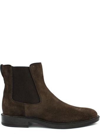 Tod's Ankle Boot In Brown Suede.