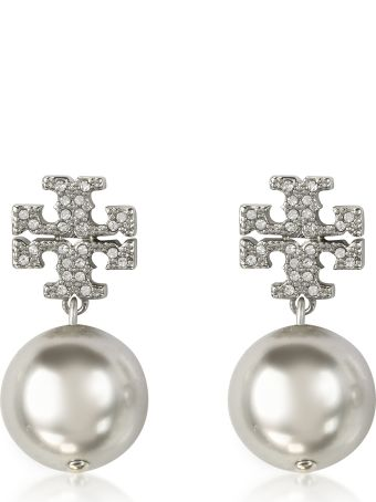 Tory Burch Crystal Pear Logo Drop Earrings