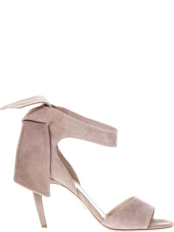 Dior Powder Pink Suede Leather Sandals With Strip