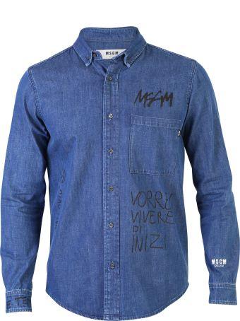 MSGM Blue Printed Shirt