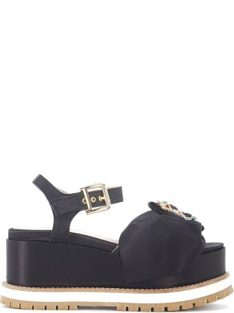 Cost Get To Buy TIPE E TACCHI Black Satin Sandal With Bow And Jewel Buckle Free Shipping Low Price Sale Browse FYuZm2ajh