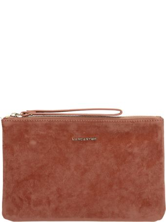Lancaster Paris Terracotta Velvet Clutch