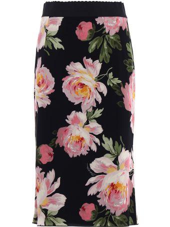 Dolce & Gabbana Charmeuse Printed Skirt
