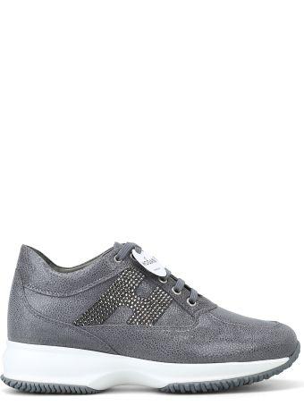 Hogan Embellished Grey Suede Interactive Sneakers