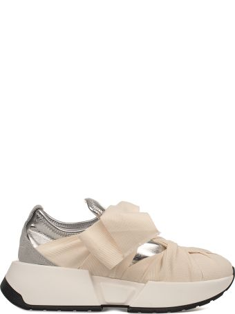 MM6 Maison Margiela Ivory/silver Metallic Faux Leather Slip On Wedge Sneakers
