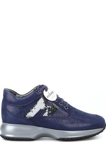 Hogan Interactive Shiny Suede Blue Sneakers