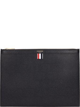 Thom Browne Medium Black Leather Pochette
