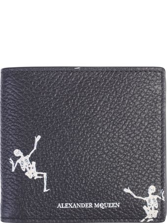 Alexander McQueen Black Skeleton Print Wallet