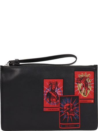 Marcelo Burlon Black Leather Clutch Bag