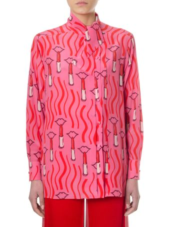 Valentino Lipstick Printed Pink Silk Blouse