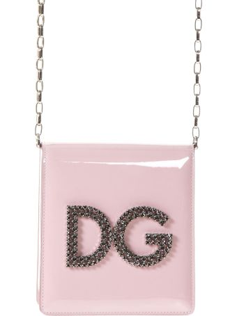 Dolce & Gabbana Dg Girl Black Crossbody Bag With Cryistal Logo